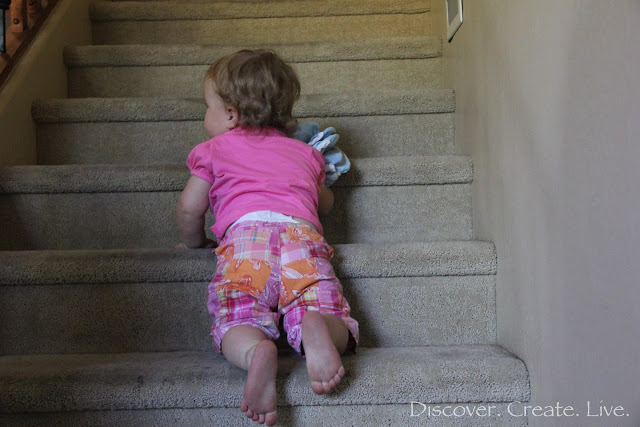 Bringing some swim diapers down the stairs... I wonder if she was trying to hint at anything :P