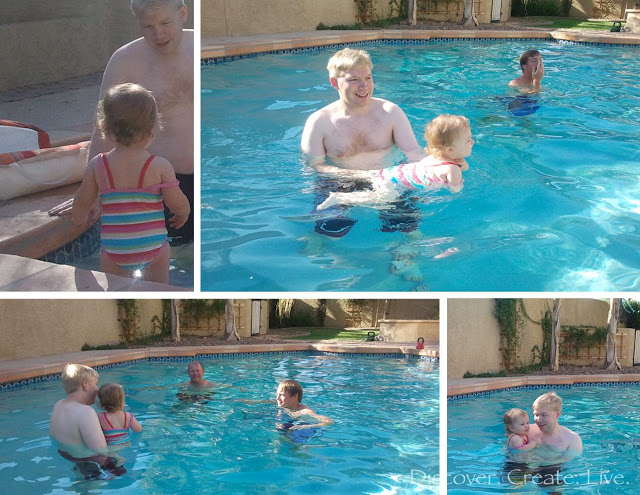 The first thing we did upon arrival was check out the pool! We certainly have a water baby!