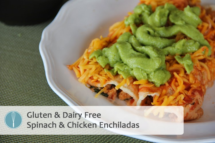 Spinach & Chicken Enchiladas {Dairy Free}