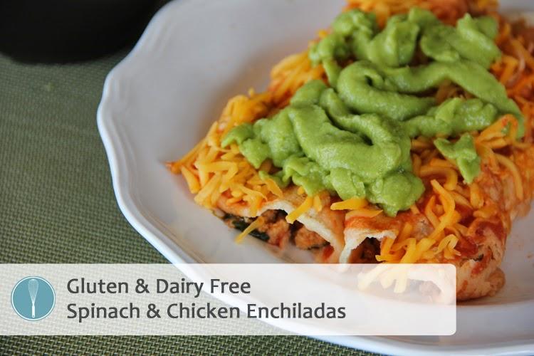 Spinach & Chicken Enchiladas {Dairy Free}